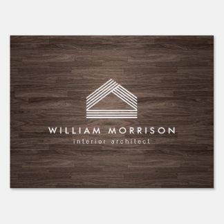 Modern Abstract Home Logo on Dark Woodgrain Lawn Sign