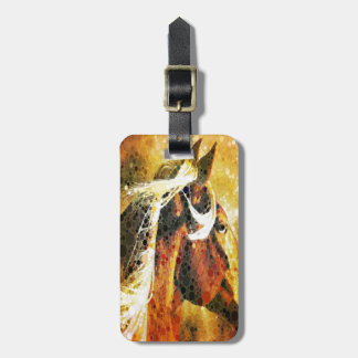 modern abstract horse western country art travel bag tags