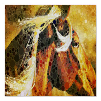 modern abstract horse western country art poster