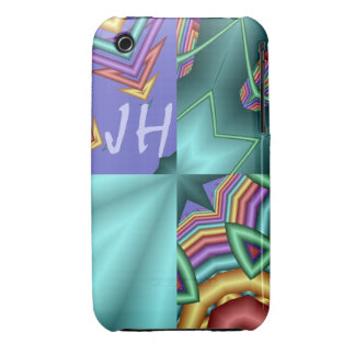Modern abstract iPhone 3 case with Monogram