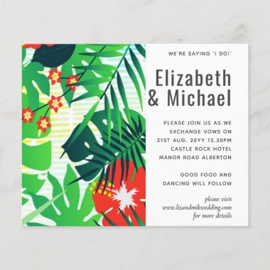 Modern Abstract Leaves Tropical Wedding Invite
