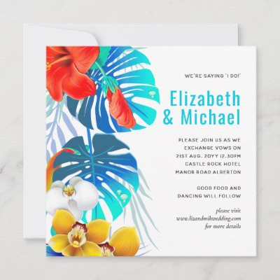 Modern Abstract Leaves Tropical Wedding Invites