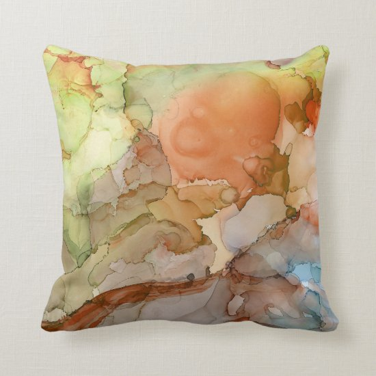 Modern Abstract Marbled Orange Lime Tan Blue Throw Pillow