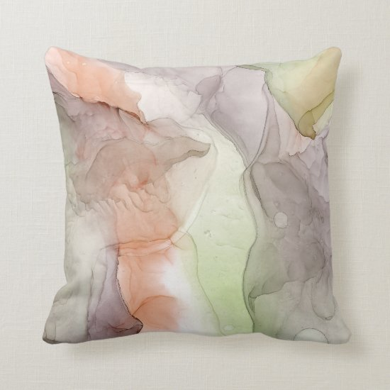Modern Abstract Marbled Smoky Gray Coral Lime Throw Pillow