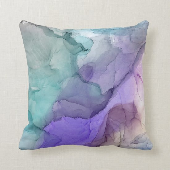 Modern Abstract Marbled Teal Purple Lavender Throw Pillow
