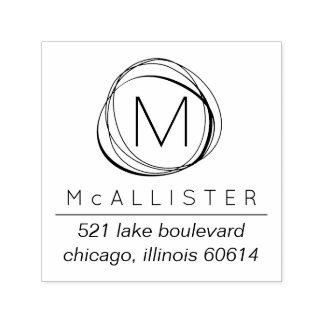 Modern Abstract Monogram Return Address Stamp