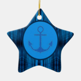 modern abstract Nautical blue stripes Anchor Ceramic Ornament