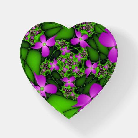 Modern Abstract Neon Pink Fractal Flowers Heart Paperweight