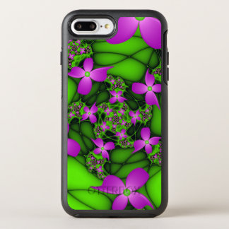 Modern Abstract Neon Pink Green Fractal Flowers OtterBox Symmetry iPhone 8 Plus/7 Plus Case