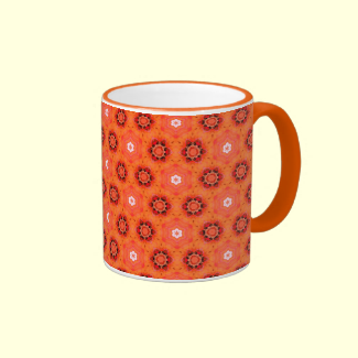 Modern Abstract Orange Flowers Circles Stars Quilt Mugs