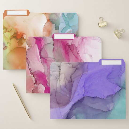Modern Abstract Pastel Ink Backgrounds File Folder