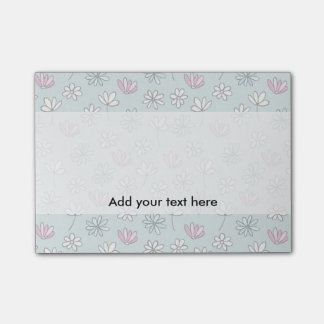 Modern abstract pastel pink blue trendy floral post-it notes