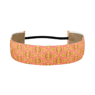 Modern Abstract Pattern Dividers 03 Gold Salmon Athletic Headband