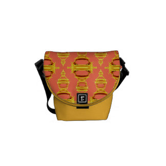 Modern Abstract Pattern Dividers 03 Gold Salmon Courier Bag