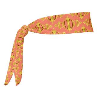 Modern Abstract Pattern Dividers 03 Gold Salmon Tie Headband
