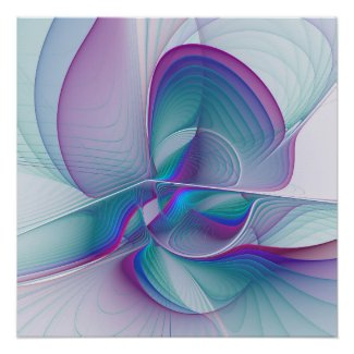 Modern Abstract Pink Blue Turquoise Fractal Art Poster