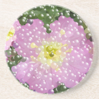 Modern Abstract Pink Bubble Flowers Beverage Coasters