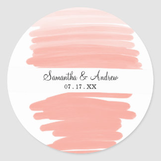 Modern abstract pink coral ombre brushstrokes classic round sticker