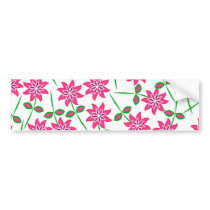 Modern abstract pink green floral pattern. bumper sticker