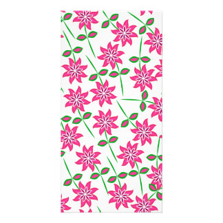 Modern abstract pink green floral pattern. card