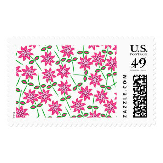 Modern abstract pink green floral pattern. postage