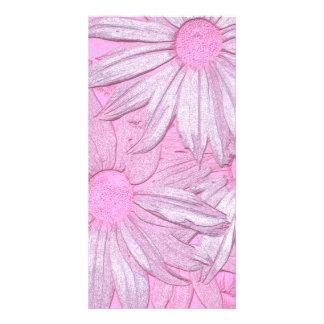 Modern abstract pink sunflower pattern. card