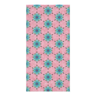 Modern abstract pink teal floral pattern. card