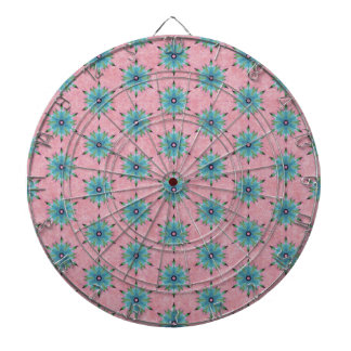 Modern abstract pink teal floral pattern. dartboard with darts