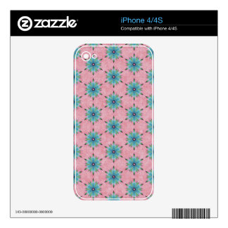Modern abstract pink teal floral pattern. iPhone 4 skins