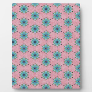 Modern abstract pink teal floral pattern. plaque