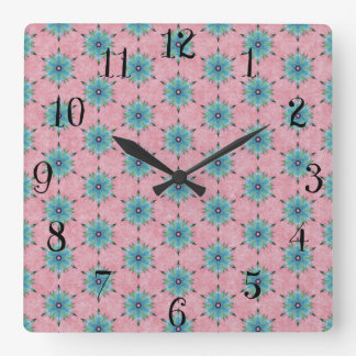 Modern abstract pink teal floral pattern. square wall clock