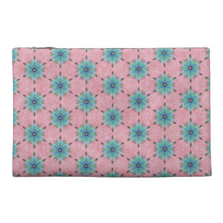 Modern abstract pink teal floral pattern. travel accessory bags