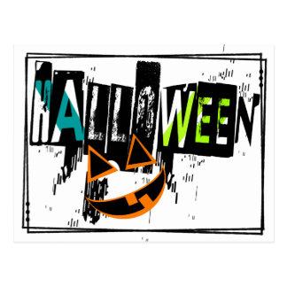 Modern Abstract Pumpkin Smile Halloween Postcard