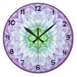 Modern Abstract Purple Medallion Design Large Clock