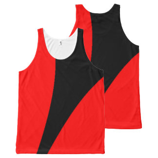 Modern Abstract Red and Black All-Over Print Tank Top