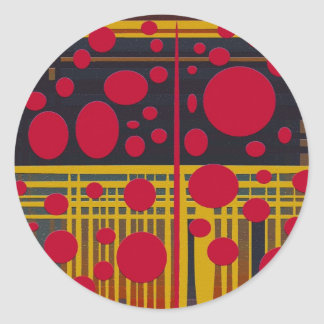 Modern Abstract Red Black Circles Lines, Classic Round Sticker