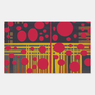 Modern Abstract Red Black Circles Lines, Rectangular Sticker