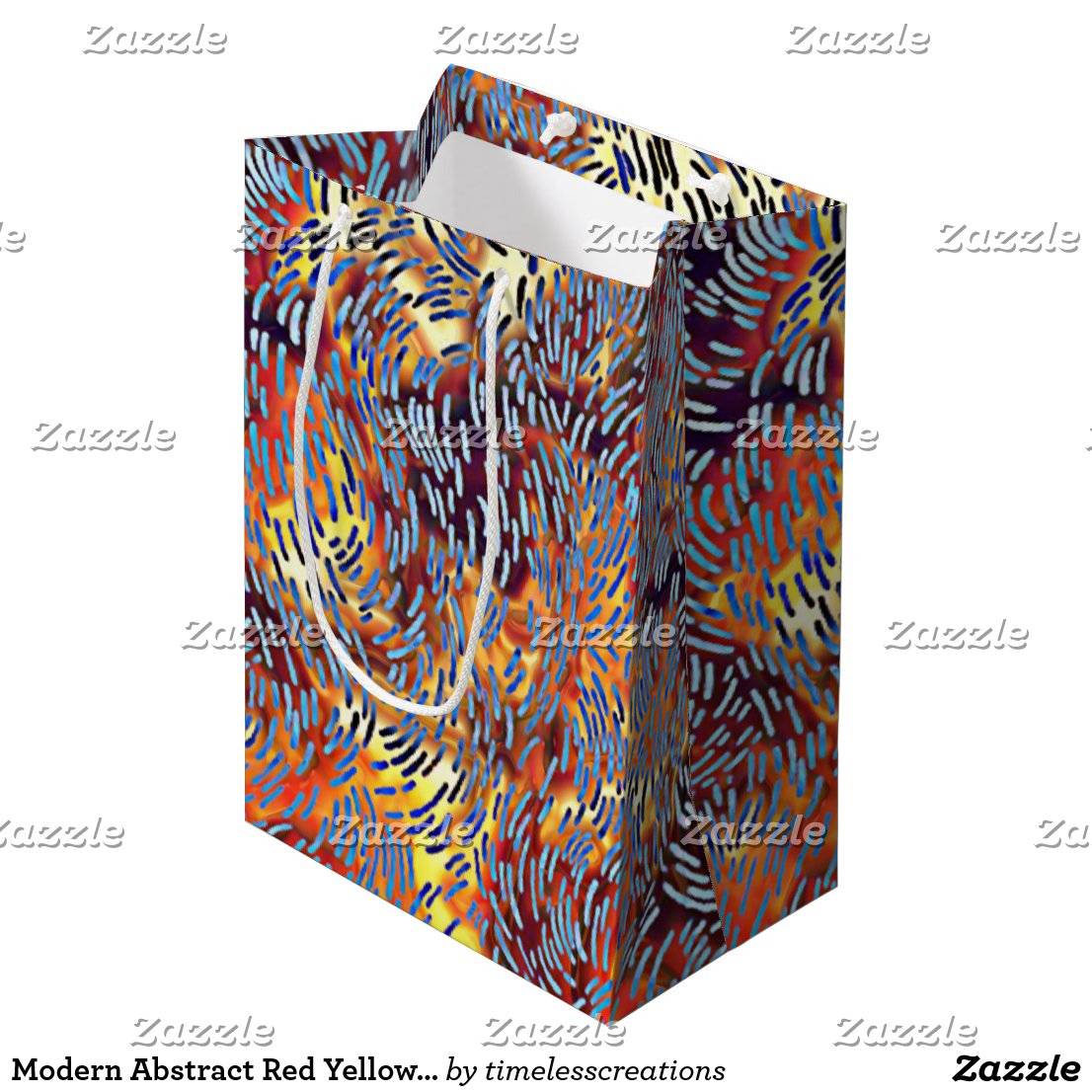 Modern Abstract Red Yellow Black Medium Gift Bag