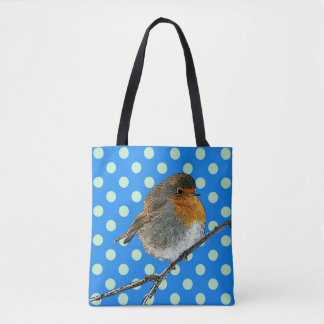 Modern Abstract robin bird blue dots pattern Tote Bag