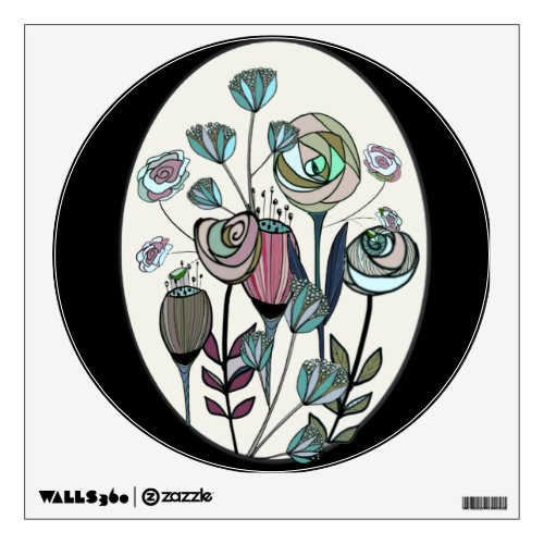Modern abstract rose floral art wall decal