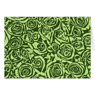 Modern Abstract Rose Pattern, Lime Green Card