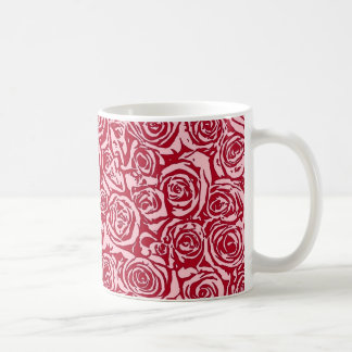 Modern Abstract Rose Pattern, Rose Red and Pink Coffee Mug
