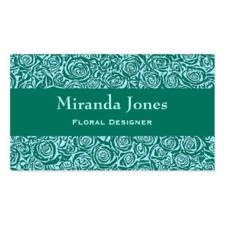 Modern Abstract Rose Pattern, Teal and Aqua Business Card