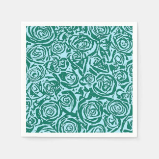 Modern Abstract Rose Pattern, Teal and Aqua Napkin