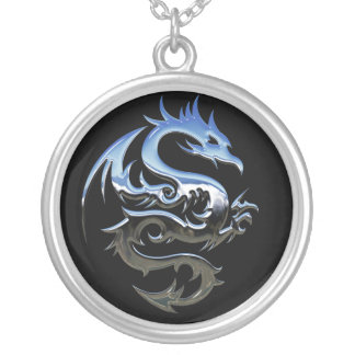 Modern abstract silver dragon silver plated necklace