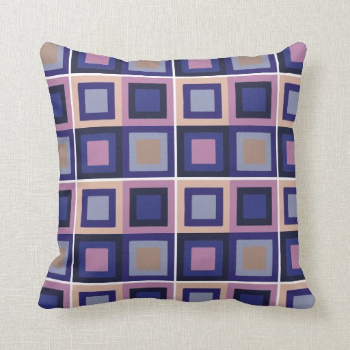 modern abstract square pattern purple blue throw pillow