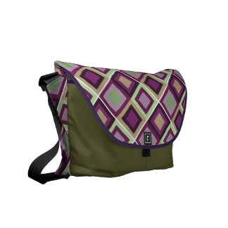 modern abstract square pattern purple green bag