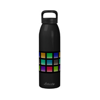 Modern Abstract Squares Pattern Reusable Water Bottle