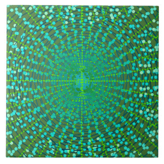 Modern Abstract Starburst, Jade Green and Aqua Ceramic Tile