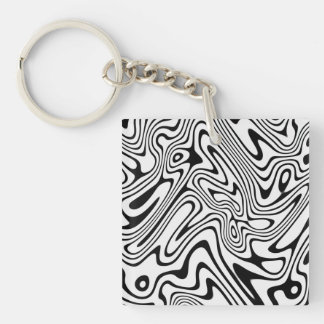 Modern abstract stripes waves keychain